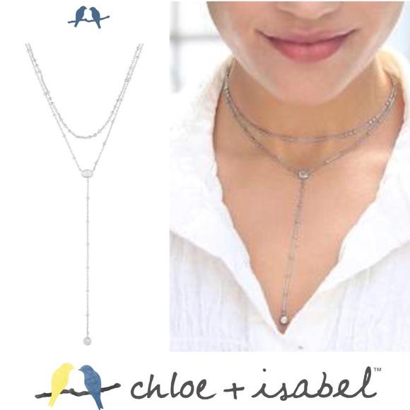 Chloe + Isabel Other - 🆕 Crystal Drop 2 Row Y-Necklace SLVR c+i N594CLSR